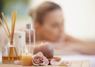 ropped shot of a mature woman relaxing on a massage table at a day spa